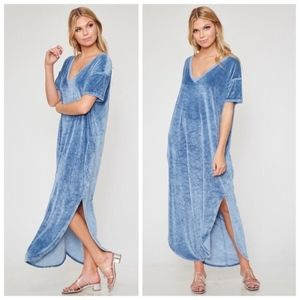 Made in USA~Blue Mineral Wash Velour Maxi Dress